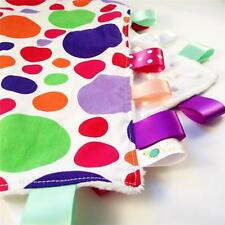 FUNKY POLKADOT Baby HandMade Security Blanket Toy FREE Dummy/Taggie/Sophie Saver