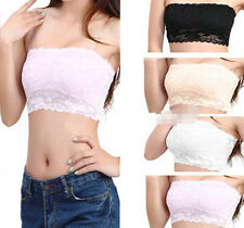Women's Sexy Lace Casual Crop Boob Tube Top Bandeau Bra Strapless Seamless Solid