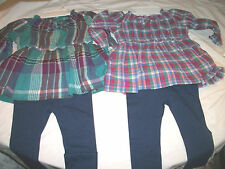 * NWT NEW GIRLS Chaps Peasents Shirt & Leggings WINTER OUTFIT SET 12M 18M 24M