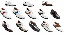Footjoy Icon Leather Golf Shoes White Black Brown Saddle Cleats YOU CHOOSE