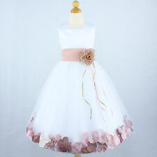 DUSTY ROSE WHITE Gown Flower Girl Dress Petals Wedding Bridal Pageant Party