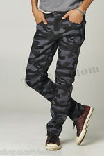 New Mens Skinny fit Jeans Pants Casual Stretch Pencil Trousers -[Black Camo]