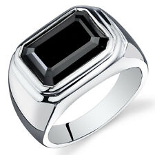 Mens 7 cts Octagon Cut Black Onyx Sterling Silver Ring Sizes 8 To 13
