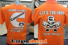 Cummins T shirt Orange all sizes Dodge Truck S-2XL Pistons Diesel FRONT & BACK