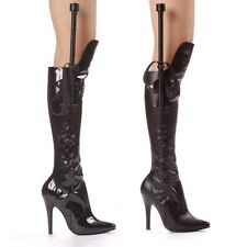 SEXY BLACK STRIPPER EXOTIC COSTUME MISTRESS WHIP CLUB SEXY STILETTO KNEE BOOTS