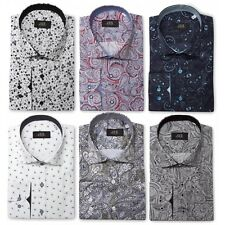 Mens Premium Slim Fit Retro Floral Full Paisley Dress Shirt Vintage MOD S-4XL