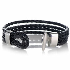 US Men Women Four Row Wrap Braided Leather bracelet wristband with Toggle Clasp