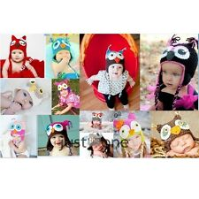 Cute Owl Pattern Baby Boys Girls Handmade Knit Crochet Beanie Hat Cap Photo Prop