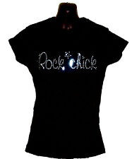 ROCK CHICK SLOGAN HEN NIGHT DISCO 80s 90s GIFT CRYSTAL FITTED T SHIRT any size