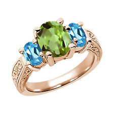 2.45 Ct Green Peridot Swiss Blue Topaz 925 Rose Gold Plated Silver 3-Stone Ring