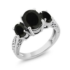 2.41 Ct Oval Black AAA Onyx 14K White Gold 3-Stone Ring