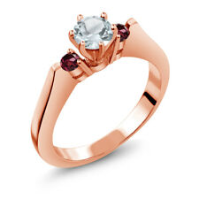 0.63 Ct Sky Blue Aquamarine Red Rhodolite Garnet 14K Rose Gold 3-Stone Ring