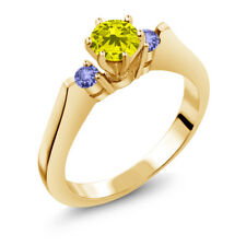 0.71 Ct Round Canary Diamond Blue Tanzanite 14K Yellow Gold 3-Stone Ring
