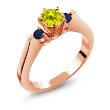 0.71 Ct Round Canary Diamond Blue Sapphire 14K Rose Gold 3-Stone Ring