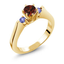 0.76 Ct Round Red Garnet Blue Tanzanite 14K Yellow Gold 3-Stone Ring