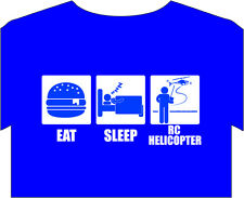 T-Shirt New Mens eat sleep radio control HELICOPTER pilot aerial joystick switch