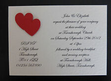 25 Handmade Personalised Wedding Invitations Day/Evening & Envelopes FREE P&P