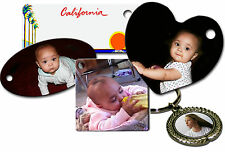 CUSTOM PERSONALIZED PHOTO KEY TAGS- ADD LOGO, TEXT & PICTURES-FIVE STYLES