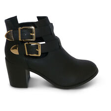 womens new ladies gold buckle cut out chelsea block heel ankle boots shoes size