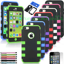 For Apple iPhone 5C Case Heavy Duty Hybrid Hard Cover w/ Free Stylus pen + Film