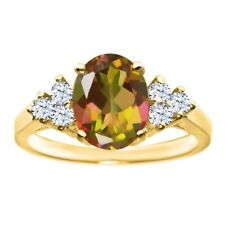 2.54 Ct Oval Mango Mystic Topaz White Topaz 14K Yellow Gold Ring
