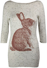 New Womens Long Marl Knit Jumper Ladies Bunny Rabbit Print Knitted Top Size 8-14