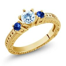 0.96 Ct Sky Blue Topaz Blue Sapphire 18K Yellow Gold Plated Silver 3-Stone Ring