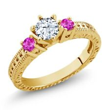 0.86 Ct White Topaz Pink Sapphire 18K Yellow Gold Plated Silver 3-Stone Ring