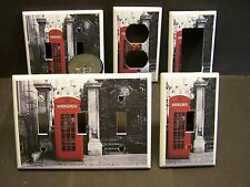 LONDON RED PHONE BOOTH TELEPHONE IMAGE LIGHT SWITCH OR OUTLET COVER V405