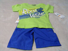 RocaWear Boy's 2T,3T and 4T Green Top W/ Blue Bottoms Established 1999 MSRP=$48