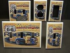 ROUTE 66 WITH WOODY WAGON & FLAMES 50'S 60'S LIGHT SWITCH OR OUTLET COVER V408