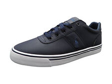 Ralph Lauren Mens Hanford Leather Trainers in Navy Blue