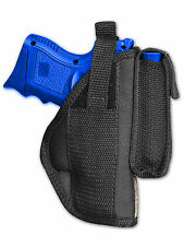 Barsony OWB Gun Holster w/ Magazine Pouch for Astra, Beretta Compact 9mm 40 45