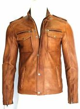 NYPD MENS FASHION CELEBRITY CLASSIC  RETRO STYLE TAN WAX REAL LEATHER JACKET