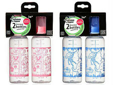 Tommee Tippee Essential Basics Twin Pack Decorated Bottles 3m+ - Pink or Blue