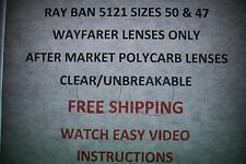 Clear Lenses Only For Your RayBan 5121 Sizes 50 and 47 FREE VIDEO INSTRUCTIONS