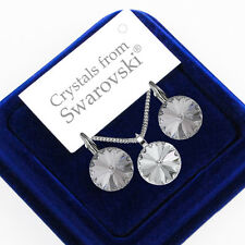 925 Sterling Silver Earrings Necklace Set RIVOLI 12 mm Crystals from Swarovski®