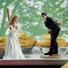 Bride Ready To Hit A Home Run with Groom Pitching Wedding Cake Topper Caketop