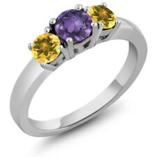 0.97 Ct Round Purple Amethyst Yellow Citrine 925 Sterling Silver 3-Stone Ring