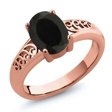2.00 Ct Oval Black Onyx 18K Rose Gold Plated Silver Ring