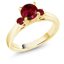 1.28 Ct Round Red Created Ruby Red Ruby 18K Yellow Gold 3-Stone Ring