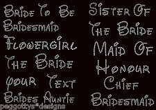 Iron on hen wedding rhinestone transfer diamante crystal  bride maid flowergirl