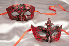 Papier Mache Venetian Masquerade Masks for a Couple in Red or Gloss Black