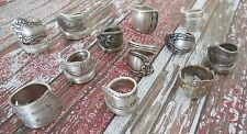 Vintage Silver Plated Hand Crafted Silverware Spoon Rings - Lot of 5