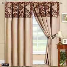 Damask half flock curtains cream brown flock 66 x72 amp 90 x90