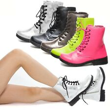 Womens Lace Up High Top Mid Calf Combat Military Low Flat Heel Ankle Bootie 5-10