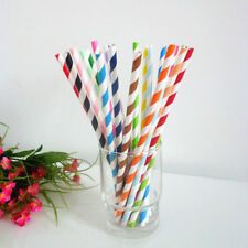 25 PCS Diagonal Striped Paper Drinking Straws Wedding Birthday Party Color1-20