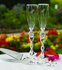 Love Knot Wedding Toasting Flutes Glasses can be Personalized