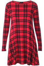 Womens Red Tartan Check Print Long Sleeve Casual Swing  Ladies Skater Dress 8-26
