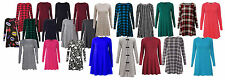 Womens Plain Jersey Long Sleeve Stretch Casual Swing Ladies Skater Dress 8-14